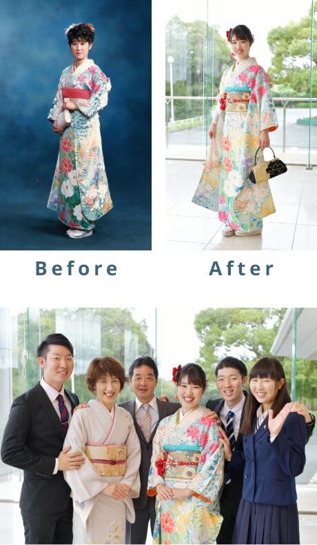 振り袖のリメイクBefore/After 家族の集合写真
